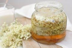 Making of french elderflower syrup Stock Photo