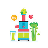 Making fresh healthy organic smoothie juice Kitchen appliance Juicer Blender Royalty Free Stock Photos