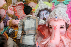 Making the Ganesha idol for Hindu festival Royalty Free Stock Photography