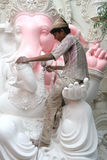 Making the Ganesha idol for Hindu festival Stock Image