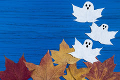 Making ghosts from maple leaves to Halloween. Step 5 royalty free stock photography