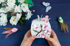 Making gift box by the child for Mother`s Day. Step 10 Royalty Free Stock Images