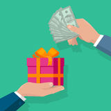 Making Gifts Vector Concept in Flat Design. Buying gifts vector in flat design. Surprise in colobox with ribbon. Hands with packed present and dollar bills. For Royalty Free Stock Image