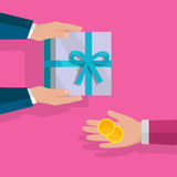 Making Gifts Vector Concept in Flat Design. Buying gifts vector in flat design. Surprise in colored box with ribbon. Hands with packed present and coins. For Royalty Free Stock Images