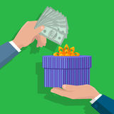 Making Gifts Vector Concept in Flat Design. Buying gifts vector in flat design. Surprise in colored box with ribbon. Hands with packed present and dollar bills Royalty Free Stock Photos