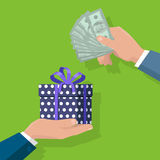 Making Gifts Vector Concept in Flat Design. Buying gifts vector in flat design. Surprise in colored box with ribbon. Hands with packed present and dollar bills Royalty Free Stock Image
