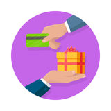 Making Gifts Vector Concept in Flat Design. Buying gifts vector in flat design. Surprise in colored box with ribbon. Shopping, sales, discount concept. Man hands Stock Image