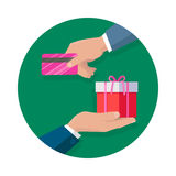 Making Gifts Vector Concept in Flat Design. Buying gifts vector in flat design. Surprise in colored box with ribbon. Shopping, sales, discount concept. Man hands Royalty Free Stock Photography