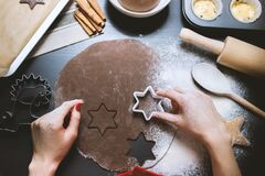 Making gingerbread Stock Images