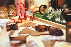 Making Gingerbread Cookies. Christmas Cookie Cutters. Royalty Free Stock Images
