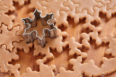 Making gingerbread cookies for Christmas Stock Images