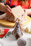 Making of gingerbread house Stock Images