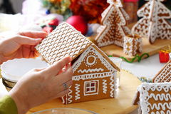 Making of gingerbread house. Making of christmas gingerbread house. Roof binding royalty free stock photos