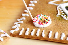 Making of gingerbread house Royalty Free Stock Image