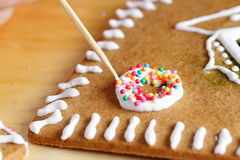 Making of gingerbread house Royalty Free Stock Photos