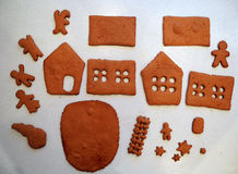 Making gingerbread house. Royalty Free Stock Photography