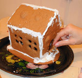Making gingerbread house. stock photos