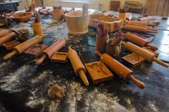 Making gingerbread masterclasses. Prepared materials, dough and royalty free stock images