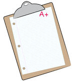 Making the grade. Clipboard with lined paper marked with A+ - making the grade - vector Royalty Free Stock Photography