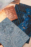 Making grafic art. Lino-cuts, etchings and graures  prepared for printing Stock Image