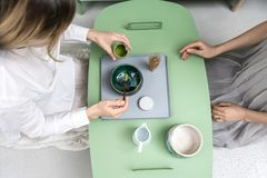 Making of green matcha tea Stock Image
