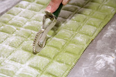 Making green ravioli Royalty Free Stock Image