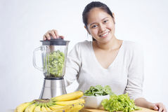 Making Green Smoothie Stock Photography