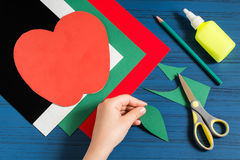 Making greeting card in form of apple for new school year. Step Royalty Free Stock Image