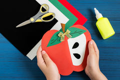 Making greeting card in form of apple for new school year. Step. Making greeting card in form of apple for new school year. Welcome back to school. Children`s Stock Image