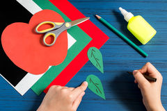 Making greeting card in form of apple for new school year. Step Royalty Free Stock Photos