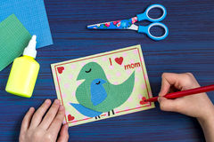 Making a greeting card for Mother`s Day. Step 8 Royalty Free Stock Images