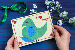 Making a greeting card for Mother`s Day. Step 9 Stock Photo