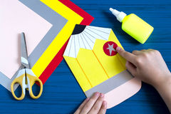 Making greeting card for new school year. Step 8 Royalty Free Stock Photography