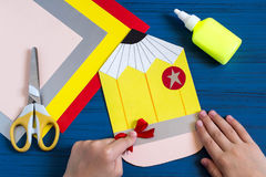 Making greeting card for new school year. Step 9 Royalty Free Stock Image