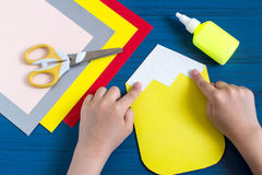 Making greeting card for new school year. Step 5 Royalty Free Stock Photo