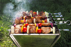Making Grilled meat on sticks (shashlyk) Royalty Free Stock Photos