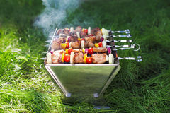 Making Grilled meat on sticks (shashlyk) Royalty Free Stock Photography