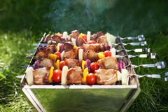 Making Grilled meat on sticks (shashlyk) Royalty Free Stock Images