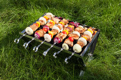 Making Grilled meat on sticks (shashlyk) Stock Photos