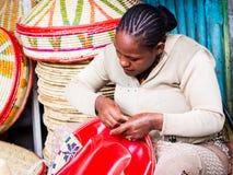Making of Habesha baskets Stock Photography