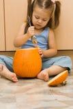 Making halloween lantern Stock Photo