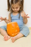 Making halloween latern Royalty Free Stock Image
