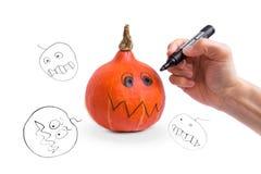 Making Halloween Pumpkin Stock Image