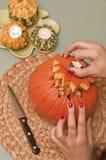 Making of halloween pumpkin lantern Stock Images