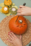 Making of halloween pumpkin lantern Royalty Free Stock Photos