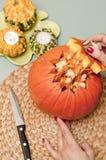 Making of halloween pumpkin lantern Stock Photo