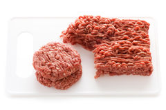 Making hamburgers ground beef  white Stock Photography