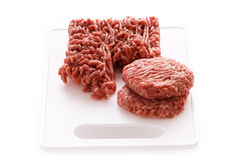 Making hamburgers from raw ground beef Royalty Free Stock Photography