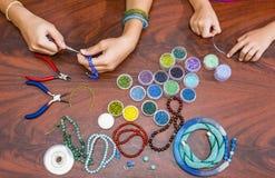 Making of handmade jewellery. Royalty Free Stock Image