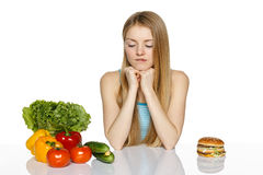 Making healthy diet choices Royalty Free Stock Image